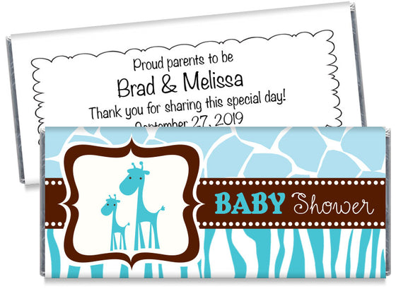 Giraffe Safari Boy Baby Shower Candy Bar Wrappers
