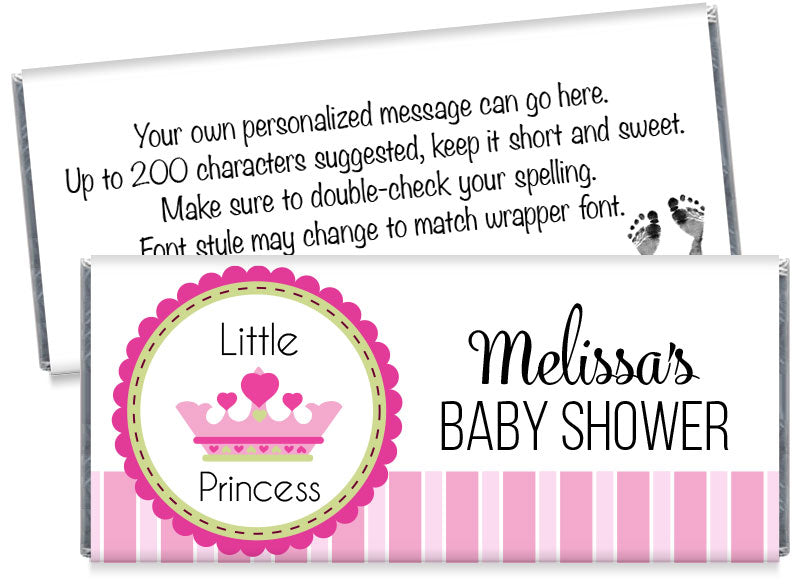 A New Little Princess Girl Baby Shower Candy Bar Wrappers