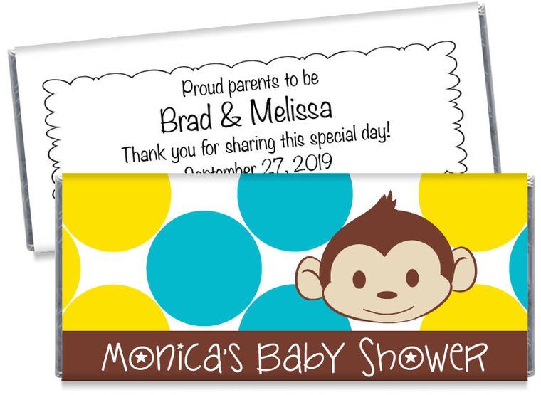 Mod Monkey Dots Boy Baby Shower Candy Bar Wrappers