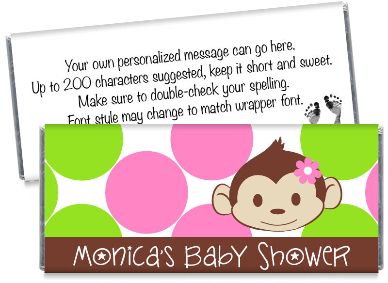 Mod Monkey Dots Girl Baby Shower Candy Bar Wrappers