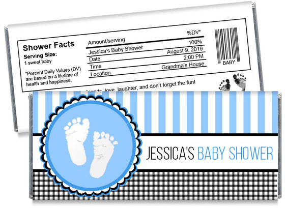 Sweet Baby Feet Boy Baby Shower Candy Bar Wrappers