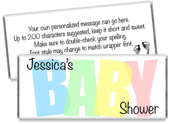 Pastel BABY Baby Shower Candy Bar Wrappers