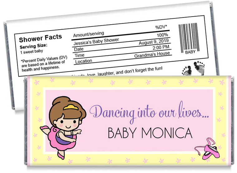 Baby Ballet Dancer Girl Baby Shower Candy Bar Wrappers