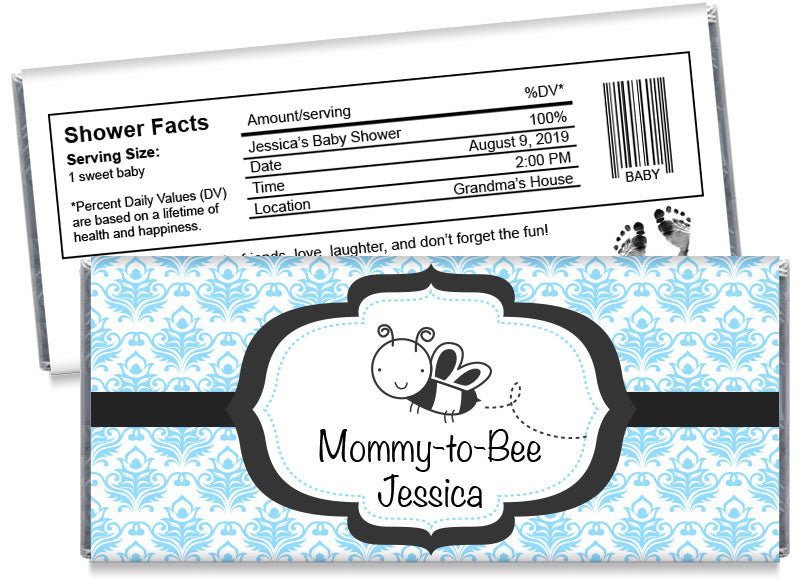 Mommy-to-Bee Girl Baby Shower Candy Bar Wrappers