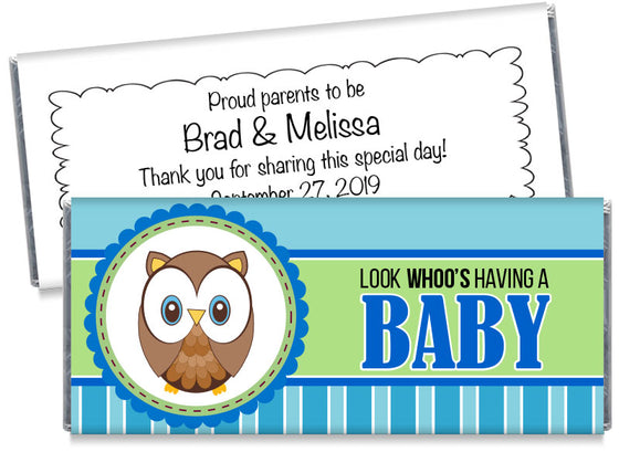 Look Whoo's Having a Baby Owl Boy Candy Bar Wrappers