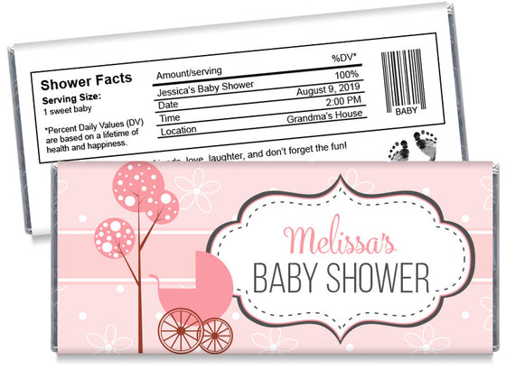 Baby Carriage Girl Baby Shower Candy Bar Wrappers