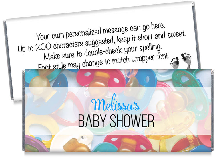 Pacifiers Baby Shower Candy Bar Wrappers