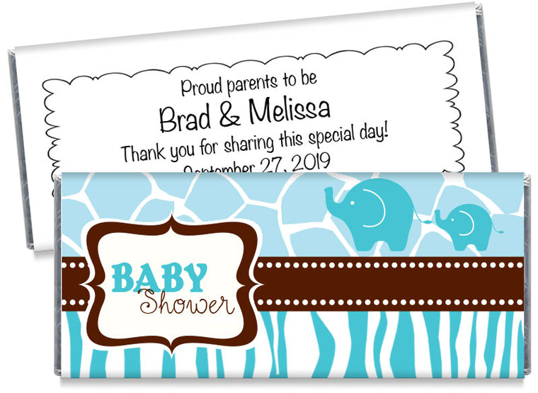 Blue Safari Elephants Baby Shower Candy Bar Wrappers