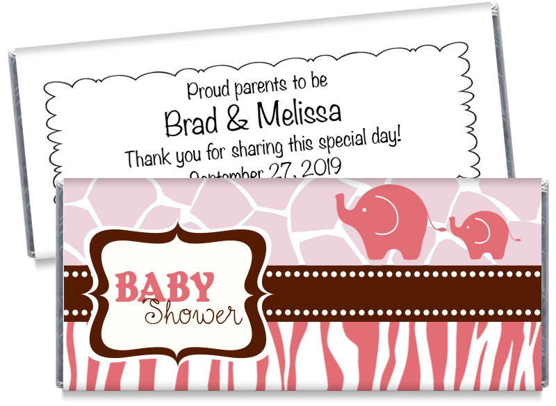 Pink Safari Elephants Baby Shower Candy Bar Wrappers