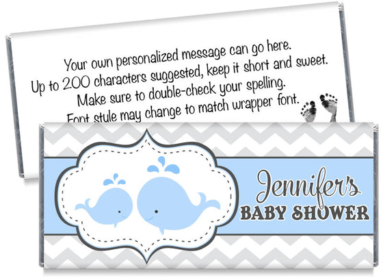 Whales Boy Baby Shower Candy Bar Wrappers