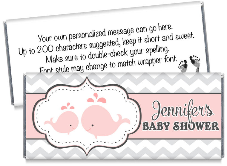 Whales Baby Shower Candy Bar Wrappers