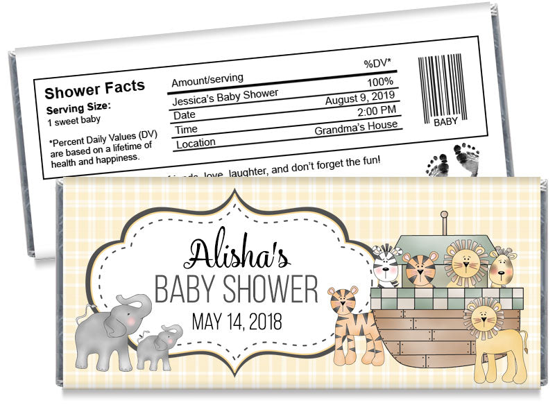 Noah's Ark Baby Shower Candy Bar Wrappers