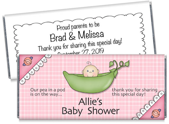 Sweetpea Girl Baby Shower Candy Bar Wrappers
