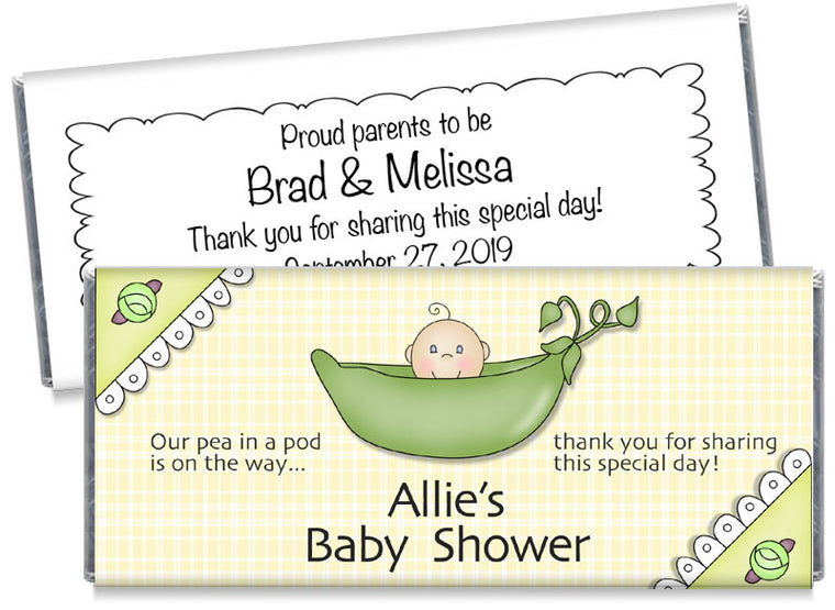 Sweetpea Baby Shower Candy Bar Wrappers