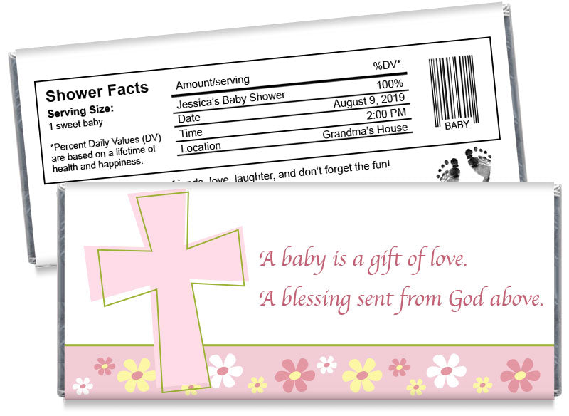 Gift of Love Cross Girl Baby Shower Candy Bar Wrappers