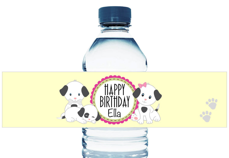 Puppies Girl Birthday Water Bottle Labels