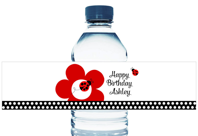 Lady Bug Dots Girl Birthday Party Water Bottle Labels