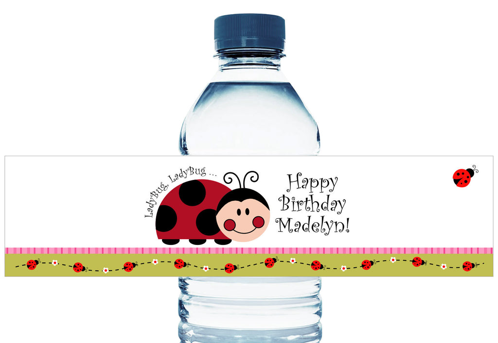 Ladybug Ladybug Girl Birthday Party Water Bottle Labels