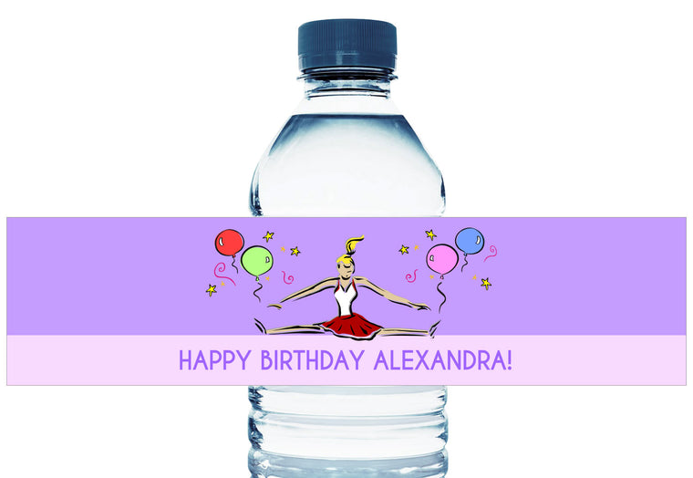 Cheerleader Party Girl Birthday Water Bottle Labels