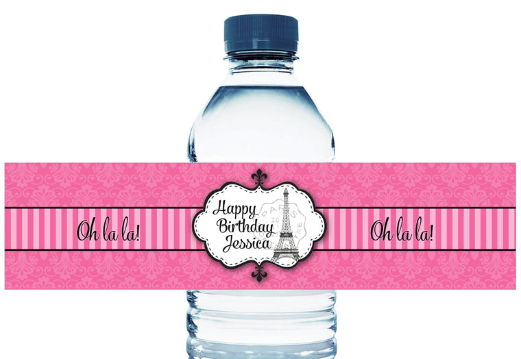 Pink Paris Party Girl Birthday Water Bottle Labels