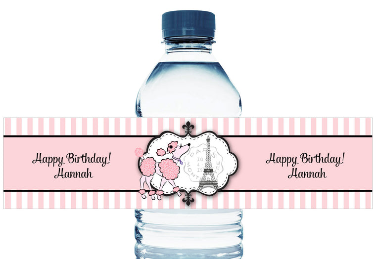 Pink Poodle Party Girl Birthday Water Bottle Labels