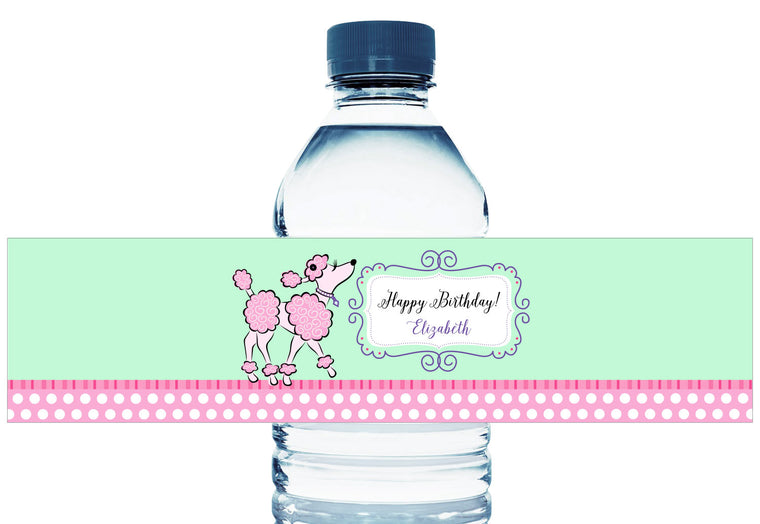 Poodle Girl Birthday Water Bottle Labels