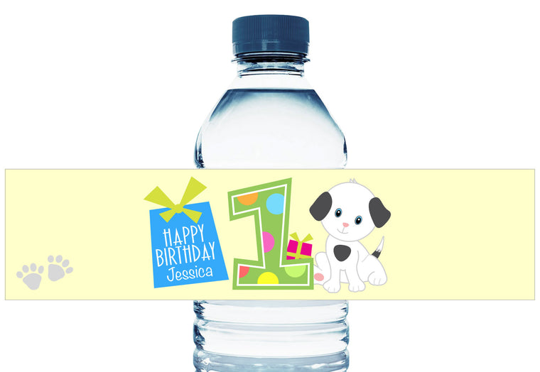 Puppy First Birthday Girl Water Bottle Labels