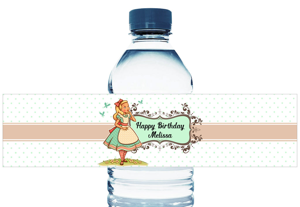 Wonderland Girl Birthday Water Bottle Labels