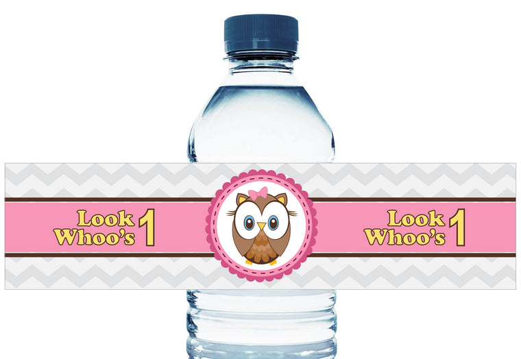 Look Whoos 1, 2, 3, any age, Girl Birthday Water Bottle Labels