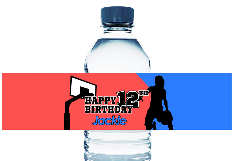 Basketball Silhouette Girl Birthday Water Bottle Labels