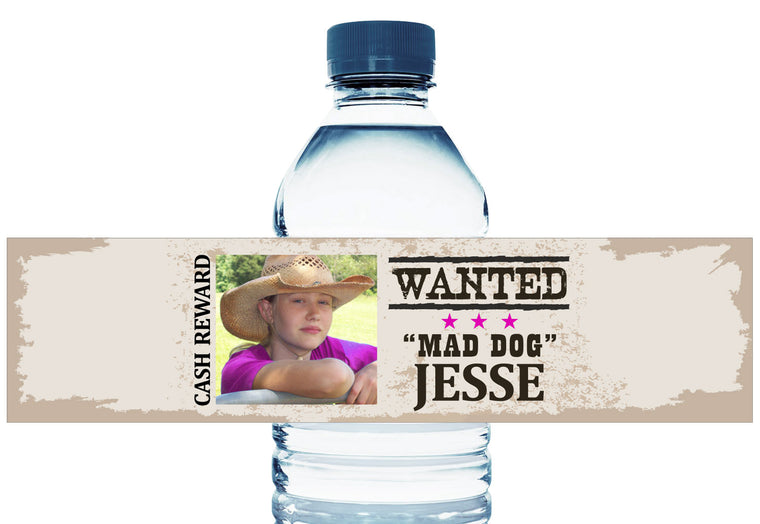 Wanted Cowgirl Photo Girl Birthday Water Bottle Labels