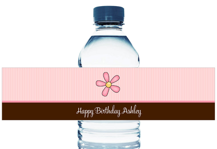 Pink and Brown Girl Birthday Water Bottle Labels