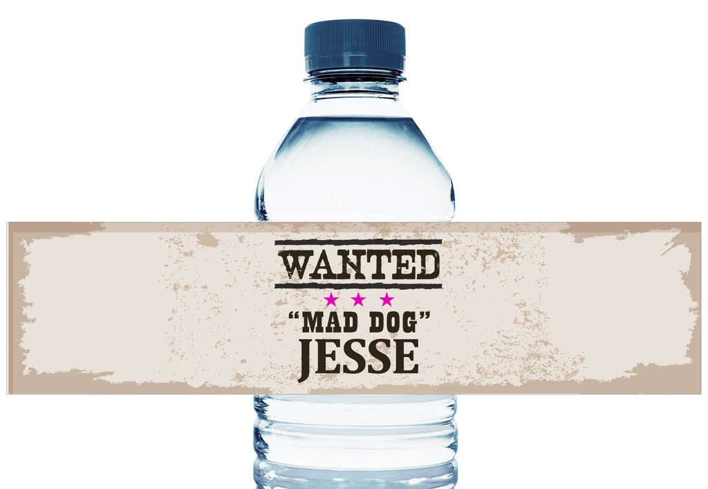 Wanted Cowgirl Girl Birthday Water Bottle Labels