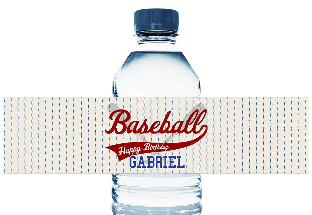Retro Baseball Personalized Boy Birthday Water Bottle Labels