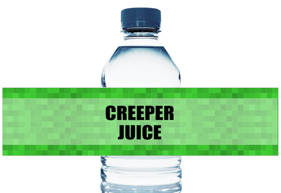 Creeper Juice Personalized Boy Birthday Water Bottle Labels
