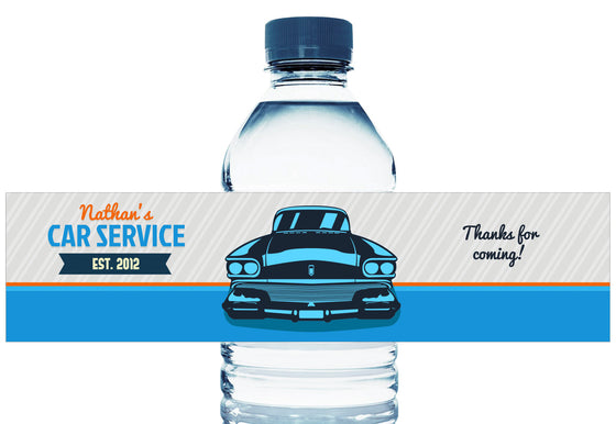 Car Service Personalized Boy Birthday Water Bottle Labels