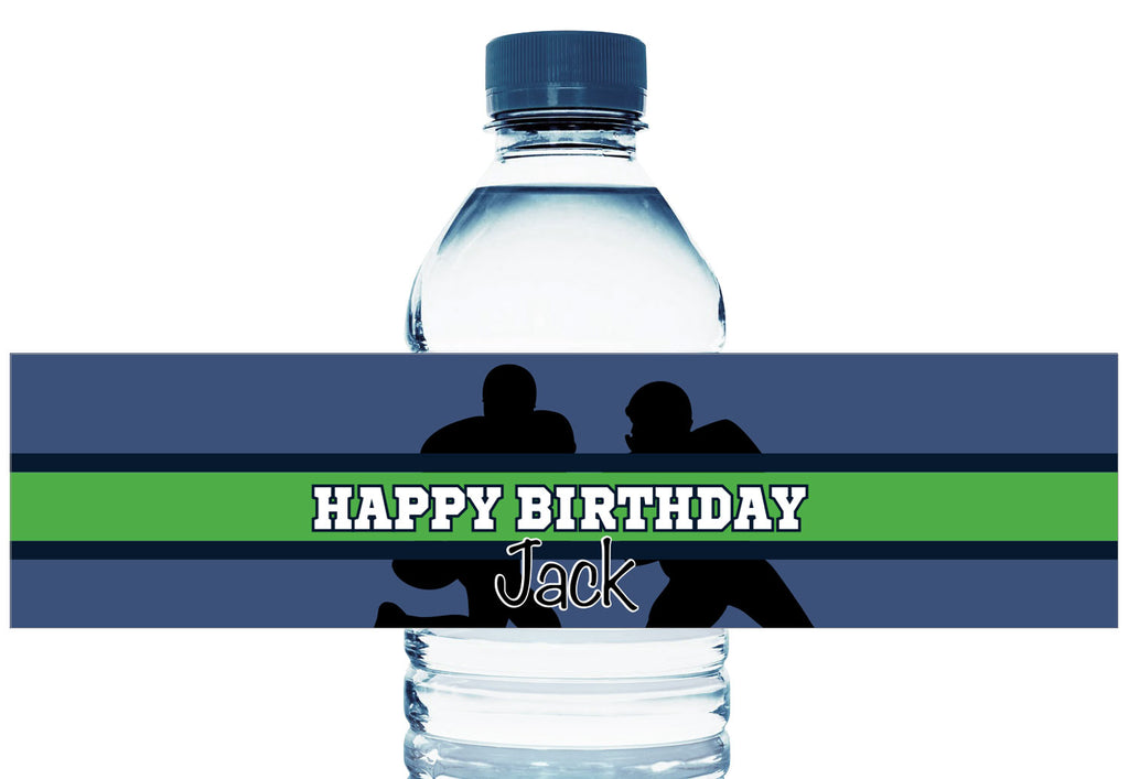 Blue and Green Football Personalized Boy Birthday Water Bottle Labels