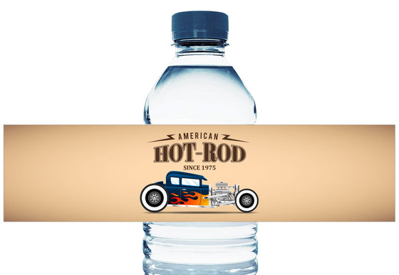 Hot Rod Car Personalized Boy Birthday Water Bottle Labels