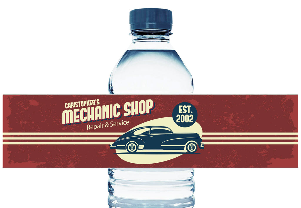 Car Mechanics Shop Personalized Boy Birthday Water Bottle Labels