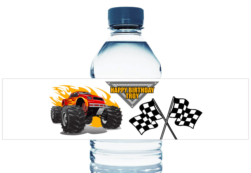 Monster Truck Personalized Boy Birthday Water Bottle Labels