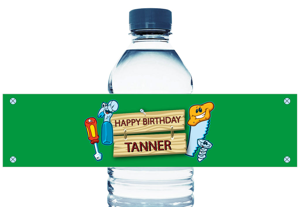 Carpenter Tools Personalized Boy Birthday Water Bottle Labels