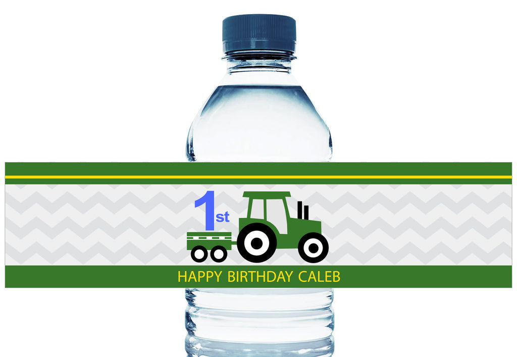 Tractor Personalized Boy Birthday Water Bottle Labels