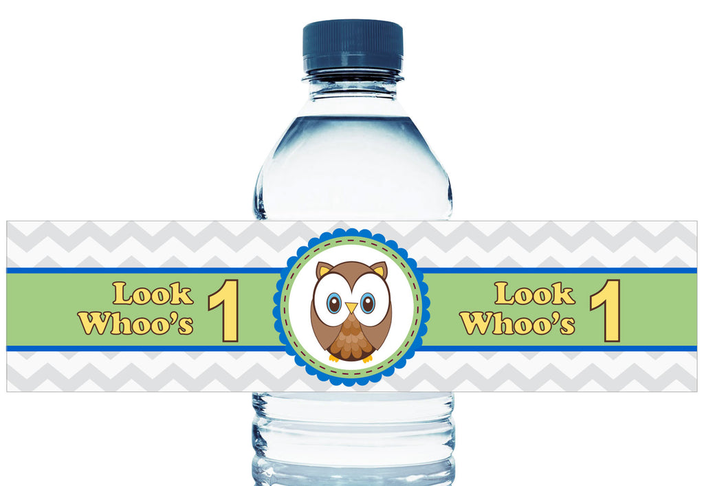 Look Whoo's 1 Personalized Boy Birthday Water Bottle Labels