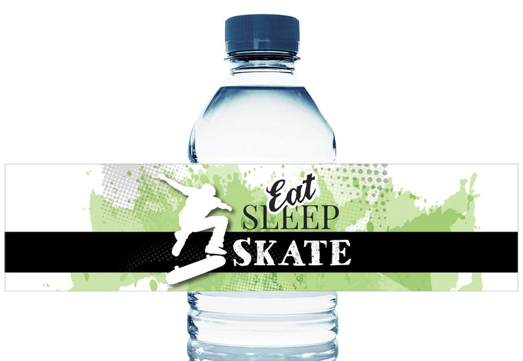 Eat Sleep Skate Personalized Boy Birthday Water Bottle Labels
