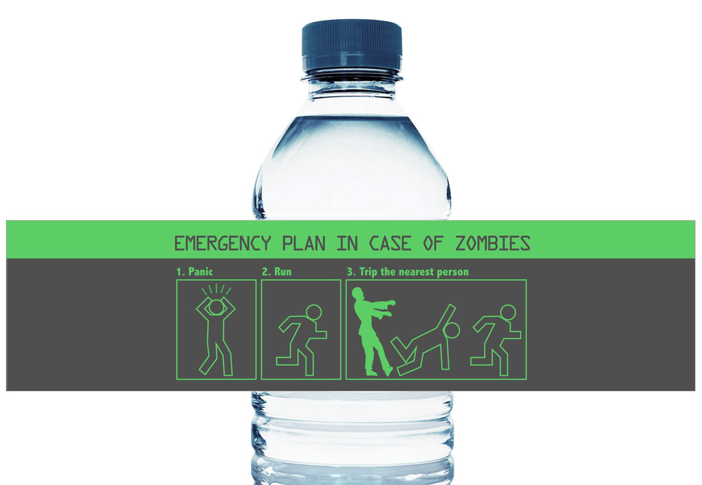 Zombie Emergency Plan Personalized Boy Birthday Water Bottle Labels