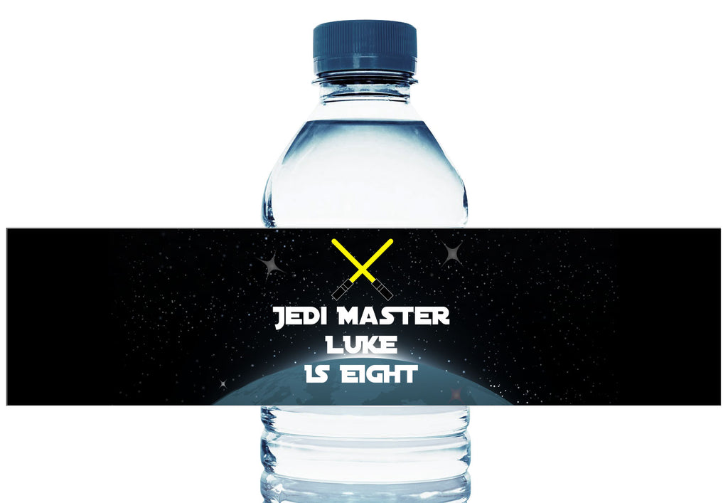 Jedi Master Personalized Boy Birthday Water Bottle Labels