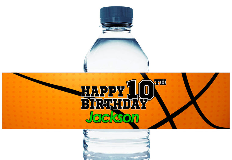 Large Basketball Personalized Boy Birthday Water Bottle Labels