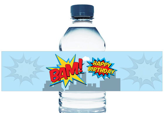 Super Hero Personalized Boy Birthday Water Bottle Labels