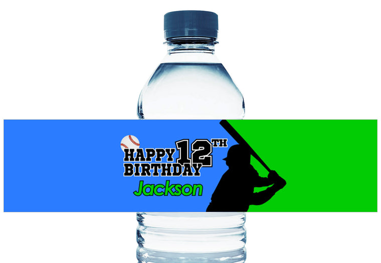 Baseball Silhouette Boy Birthday Personalized Water Bottle Labels