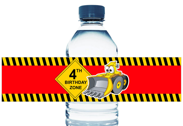 Tractor Construction Boy Birthday Personalized Water Bottle Labels